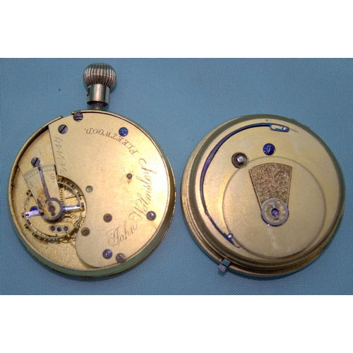 158 - 2 Pocket Watch Movements, One James Grime Preston 66490 The Other John Walmsley Fleetwood 345448, Bo...