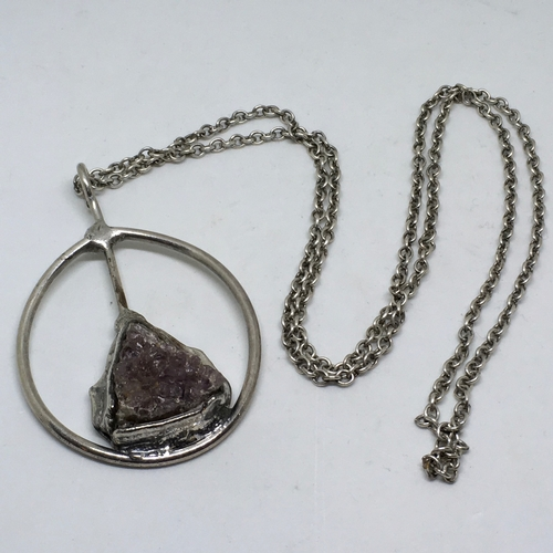 165 - Large Retro Natural Amethyst Mounted Pendant & Chain. This necklace has been skillfully hand made - ...