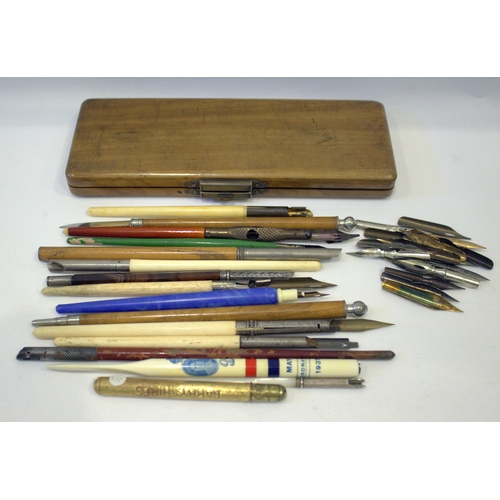 175 - Collection Of Mostly Dip Pens To Include Bone, Mother Of Pearl Agate, Wood And Plastic Barrels, Some...