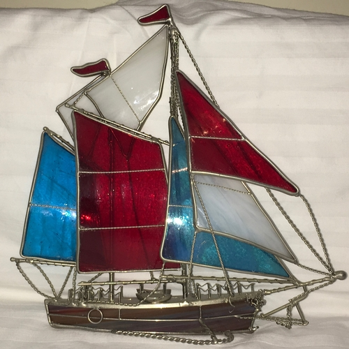 189 - Mid 20th Century - Realistically Chromed Metal and Coloured Glass Model of a Racing Yacht In Full Sa...