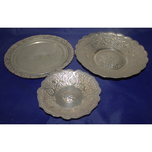 201 - Collection Of 3 White Metal Embossed Plates/Bonbon Dishes, Largest Measures 20cm Diameter...