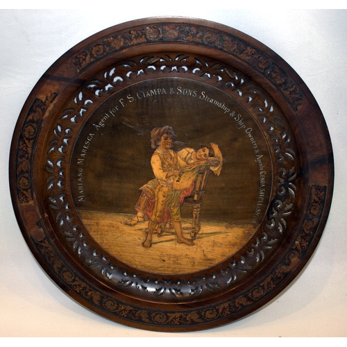 247 - Shipping Interest, Early 20thC Carved Wooden Display Tray, Marquetry Image Of 2 Children With A Map/...
