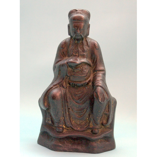 249 - c1450 Chinese Ming Period Bronze Depicting A Seated Emperor, Traces Of Original Gilding Height 15.5c...