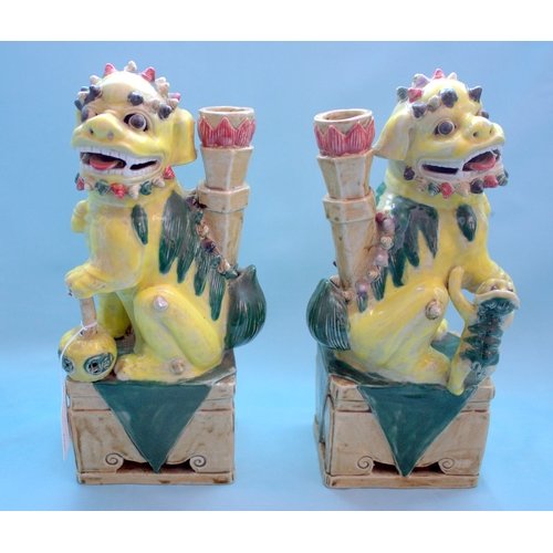 252 - A Pair Of Chinese Famille Verte Incense Holders In The Form Of Temple Dogs With Pups, Yellow Glazed ...