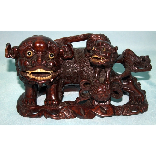 254 - Antique Chinese Cherrywood Carving, Depicting A Foo Fu Dog & Pup, Bone Inset Eyes And Teeth. Height ...