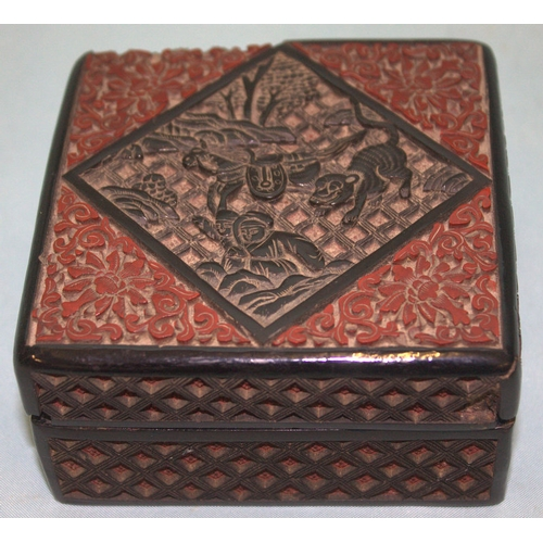 266 - A 17th/18th CENTURY CHINESE CINNABAR LACQUERED LIDDED BOX finely carved with a horse being chased by...