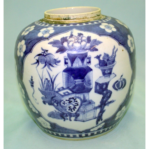 269 - A LARGE KANG SHI PERIOD CHINESE BLUE AND WHITE GINGER JAR depicting antiquities and scholars table o...