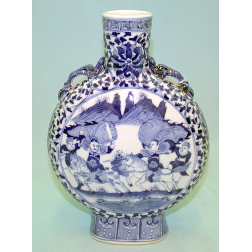 270 - AN ANTIQUE CHINESE BLUE AND WHITE MOON FLASK SHAPED VASE finely decorated with warriors on horseback...