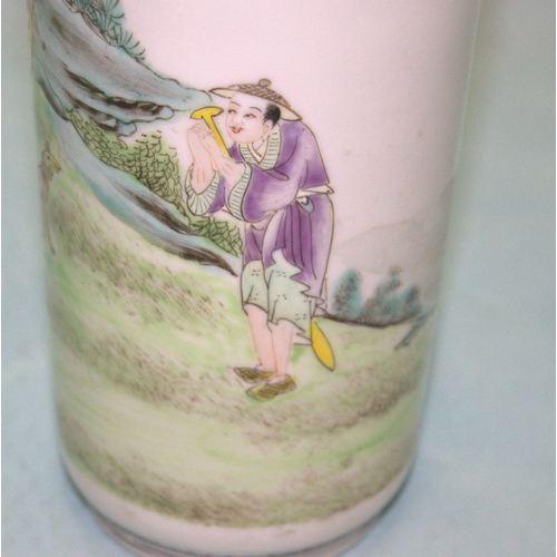 275 - Chinese Republic Famille Verte Vase, Red Seal marks To base, Height 10 Inches, Odd Chips...