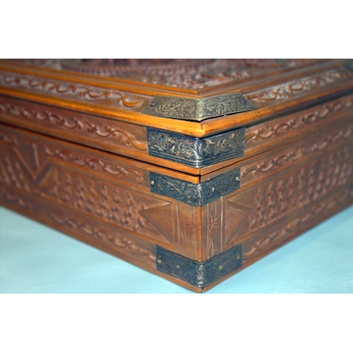 280 - Unusual Antique Chinese Carved Sandle Wood Canton Hinged Box, With Silver Mounts, Carved Lid. c1850...