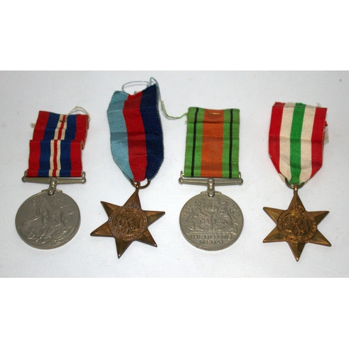 204 - Military Interest, Set Of 4 WWII Medals Comprising The Defence Medal, The 1939-1945 Medal, The Italy...