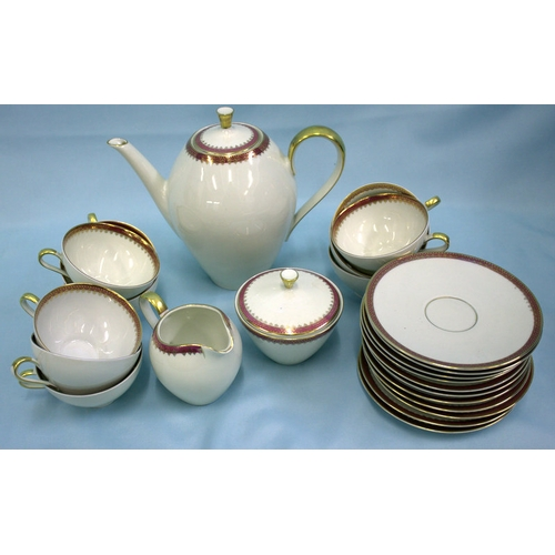 460 - Mitterteich Bavaria Tea Service White With Red & Gilt Borders, Comprising 10 Cups, 11 Saucers, Coffe...