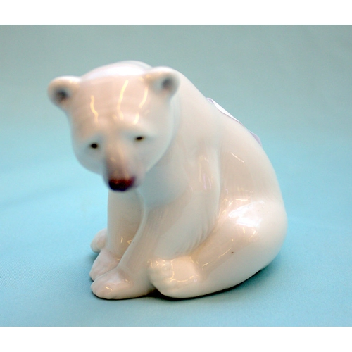 464 - Lladro Polar Bear Figure, Seated Polar Bear...