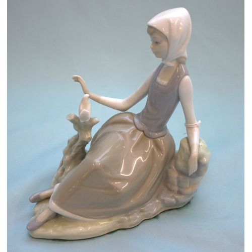 465 - Lladro Figurine, Seated Girl With Bird...