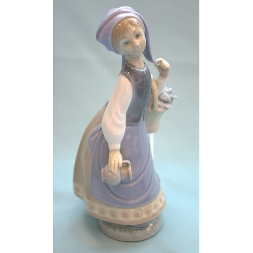 468 - Lladro Figurine, Girl With Basket And Holding Jug...