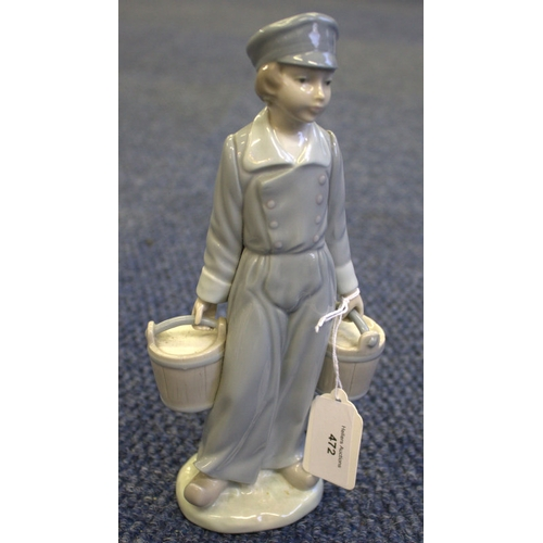 472 - Lladro Figurine, Boy Carrying 2 Pails...