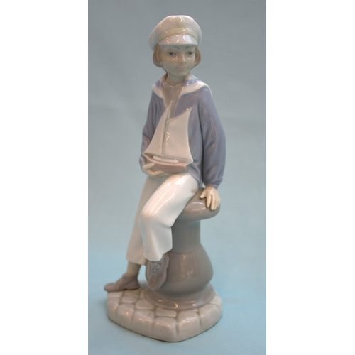 473 - Lladro Figurine, Boy In Sailor Suit With Boat...