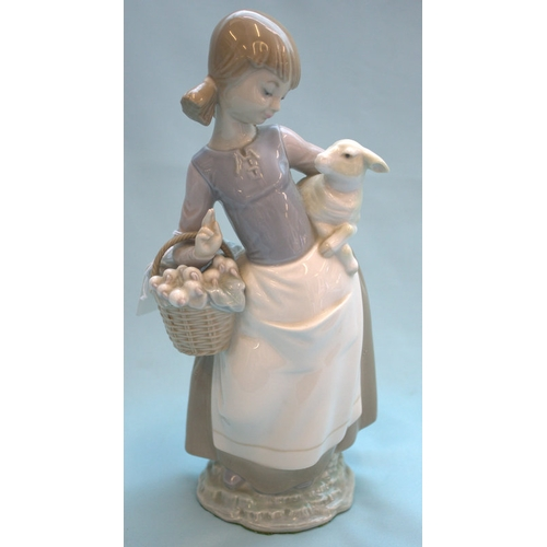 474 - Lladro Figurine, Girl Holding Lamb With Basket Of Spring Onions...