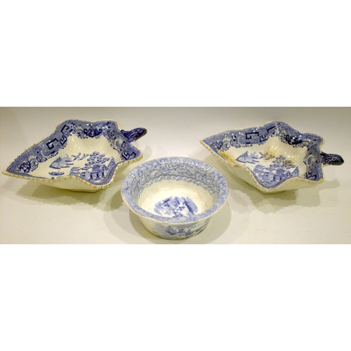 488 - Two Late 18th Early 19thC Pearlware Pickle Dishes of  leaf-form, the interior transfer printed in un...