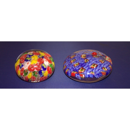 550 - 2 Glass Paperweights, Both Of Millefiori Design, One With Moulded Bug To Top...