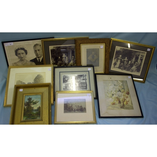 590 - Collection Of Framed Prints and Photographs (9) in total to include small gilt framed landscape, thr...