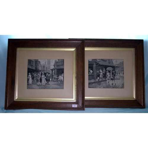 592 - A Fine Pair of Victorian Black and White Prints on Silk, Within Period Oak Frames, London Street Sce...