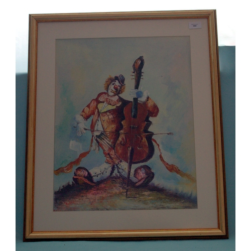594 - Framed Picture Depicting A Clown Playing A Double Bass, Unsigned, 20x16 Inches...