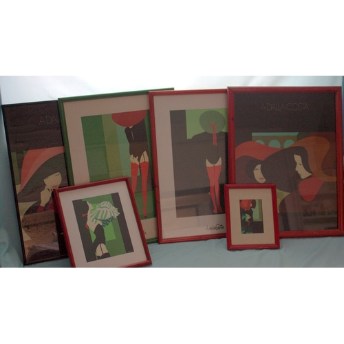 596 - Collection Of 6 Adela Costa Framed Prints, Depicting Women Some Risque...