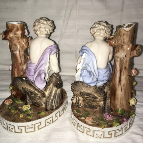 600 - Late 19th Century Meissen Unusual Pair of Hand Painted Porcelain Figural Bases with Cherubs Sitting ...