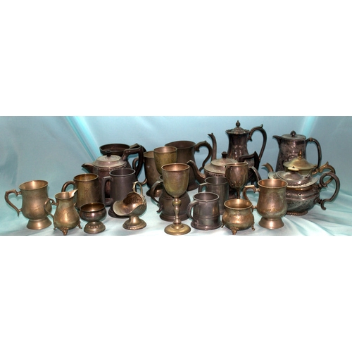 603 - Large Box Containing A Quantity Of Pewter, Plate & EPNS To Include Tankards, Coffee Pots, Goblet, Tr...