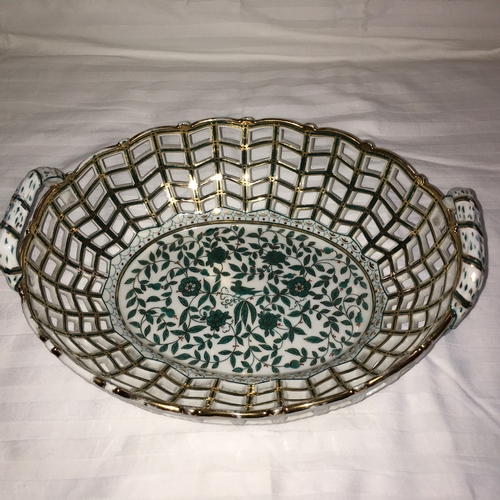 607 - Dresden Style China Basket with open work sides, and handles at each end. Painted in green and gilt ...
