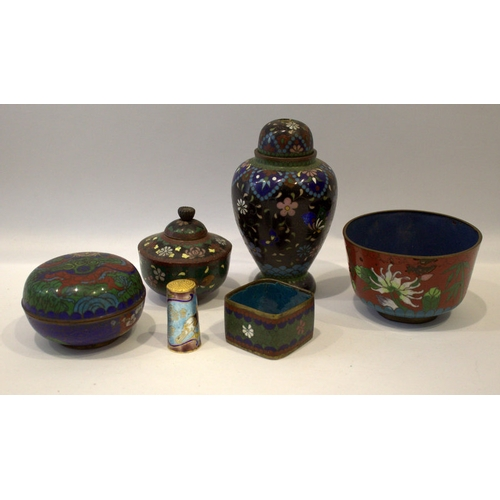 610 - Mixed Lot Of Cloisonne To Include Bowl And Cover, Vase And Cover, Thimble Etc....