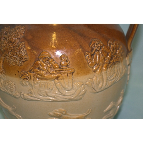 620 - A LARGE EARLY GEORGE III FULHAM POTTERY SALTGLAZED HARVEST JUG with fox hunting scene to the body an...