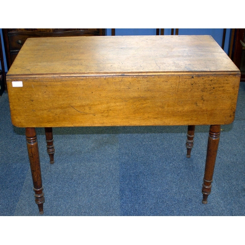 671 - Georgian Pembroke Table, Dummy & Frieze Drawer, Turned Supports...