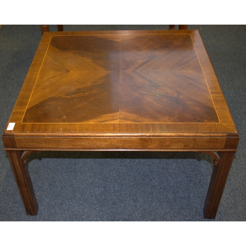 672 - Modern Square Coffee Table, Quarter Veneered Top...