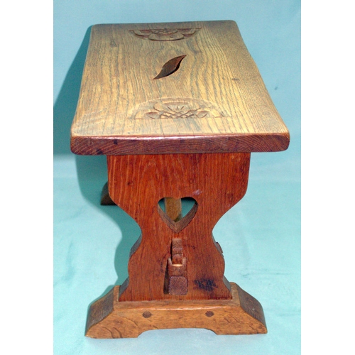 678 - Mothman Carved Rose Stool, Dated For 1969, Trademark Carved Moth To Support, Height 11 Inches, 15x8....