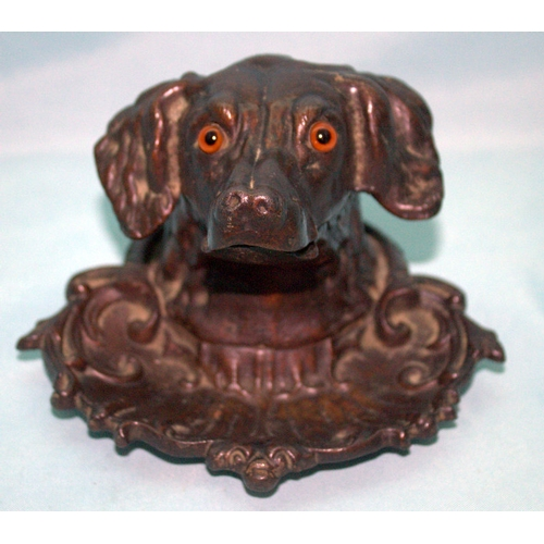 703 - Rare Bronzed Coalbrookdale Style Cast Iron Dogs Head Inkwell, Inset Glass Eyes, Hinged Neck To Revea...