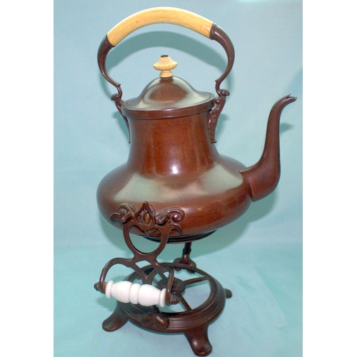 705 - Large Early 19thC Copper Tea Kettle And Stand Of Bronze Pattination In The Oriental Style, Whale Bon...
