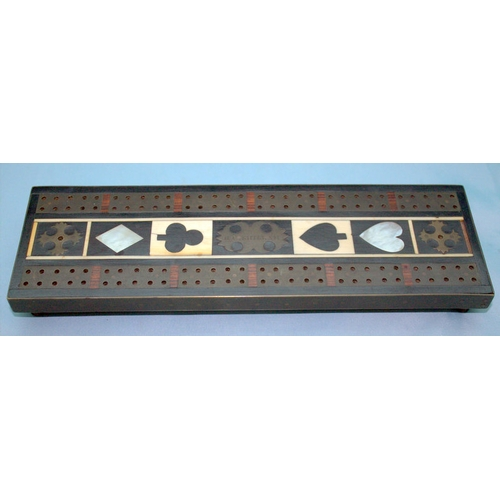 706 - A Fine Regency Cribbage Board In The Manner Of George Bullock, Playing Card Symbols Picked Out In Iv...