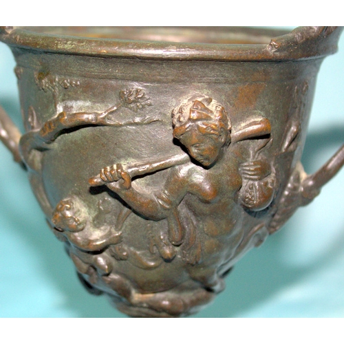 709 - Bronze Grand Tour Twin Handled Cup Decorated With Centaurs, Height 6 Inches, No Lid...