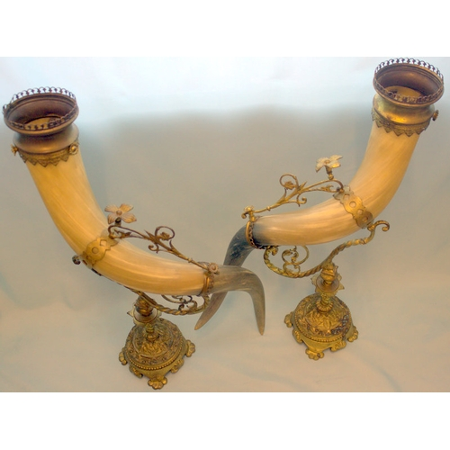 723 - Pair Of Bronze Mounted Victorian Horn Vases, Height 25 Inches...