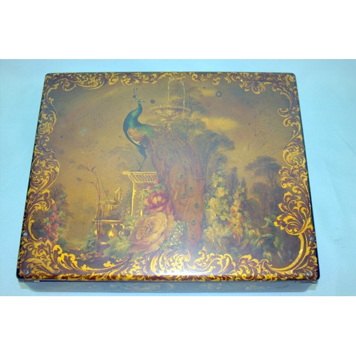 724 - A MID VICTORIAN PAPIER-MACHE LADIES WRITING BOX finely painted with a peacock and floral decoration ...