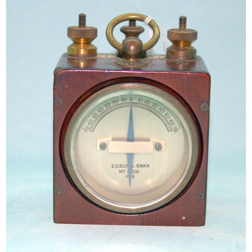 762 - Edison & Swan Electric Meter In Mahogany Case, 4.5x3.5 Inches...