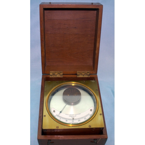 763 - Antique Amperes Meter In Wooden Case, N.C.S Patent No 27504, 7.5 Inches Square...