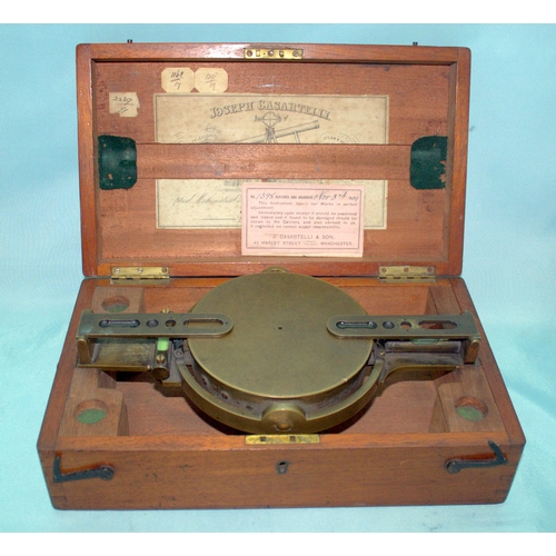 764 - 19thC Joseph Casartelli Level And Compass In Fitted Case With Gimbles, Manchester Maker, Together Wi...