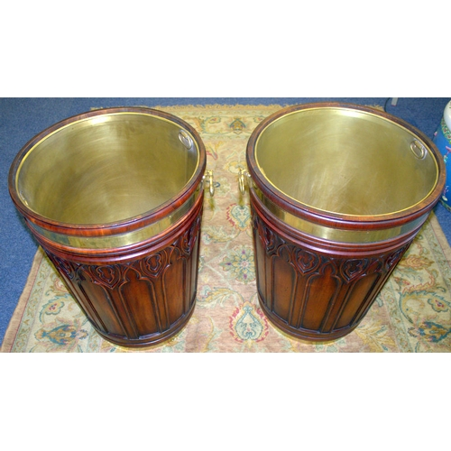 765 - A LARGE PAIR OF BRASS-BOUND MAHOGANY PEAT BUCKETS OF IRISH GEORGE III STYLE, Brass Liners And Carryi...