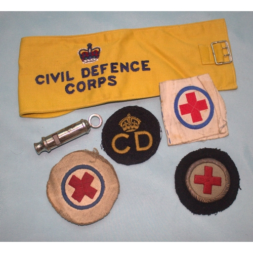 786 - Mixed Lot Comprising 1954 Civil Defence Corps Armband, Cloth Badges &  Whistle....