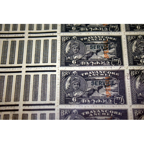 801 - A RARE FULL SHEET OF IFC TRAVACORE-COCHIN 1949 STAMPS These being the last issue of Travancore which...