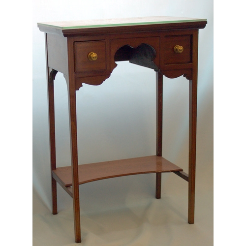 822 - Small 19thC Mahogany Side Table, 2 Frieze Drawers, Square Inlaid Tapered Legs With Cross Stretcher S...