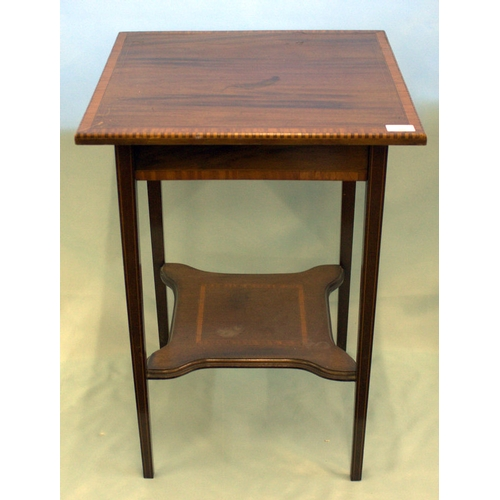 842 - Edwardian Mahogany Inlaid Occasional Table, Square Cross Banded Top With Inlay Raised On Square Tape...